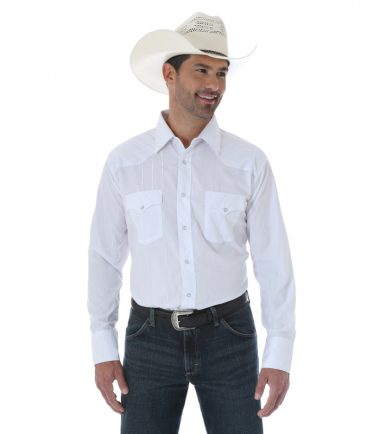 Wrangler Silver Edition Men's Long Sleeve Stampede Shirt White