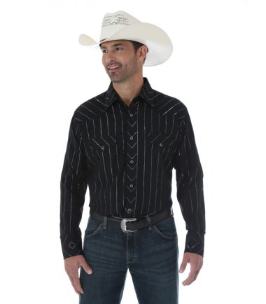 Wrangler Silver Edition Men's Long Sleeve Stampede Shirt Black