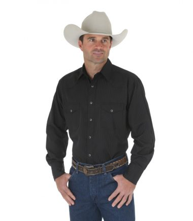 Wrangler Sport Western Snap Long Sleeve Stampede Shirt Black