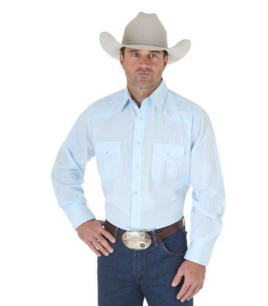 Wrangler Sport Western Snap Long Sleeve Stampede Shirt Blue
