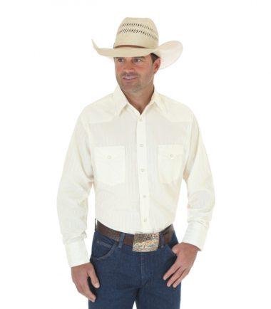 Wrangler Sport Western Snap Long Sleeve Stampede Shirt Ecru