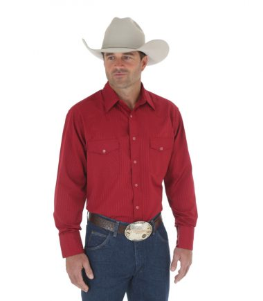 Wrangler Sport Western Snap Long Sleeve Stampede Shirt Wine Red