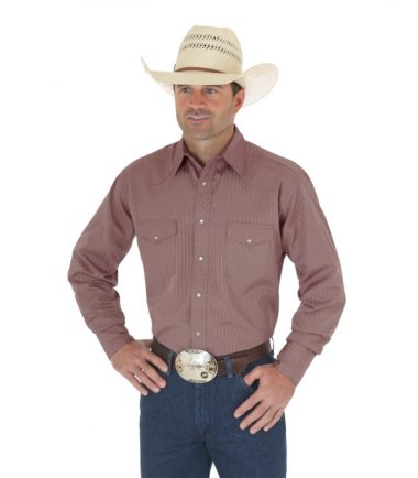Wrangler Sport Western Snap Long Sleeve Stampede Shirt Tan