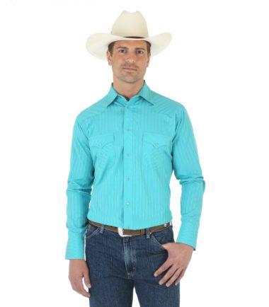 Wrangler Men's Western Sport Long Sleeve Stampede Shirt Turquoise