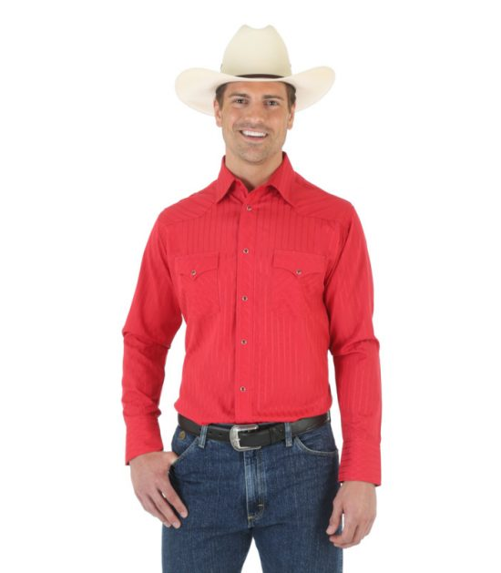 Wrangler Men's Western Sport Long Sleeve Stampede Shirt Red
