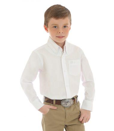 Wrangler Boys Kid's Western Shirt Stampede Shirt White