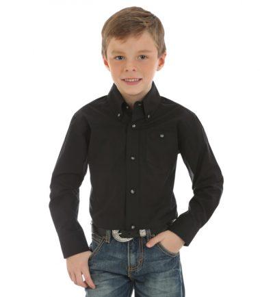Wrangler Boys Kid's Western Shirt Stampede Shirt Black