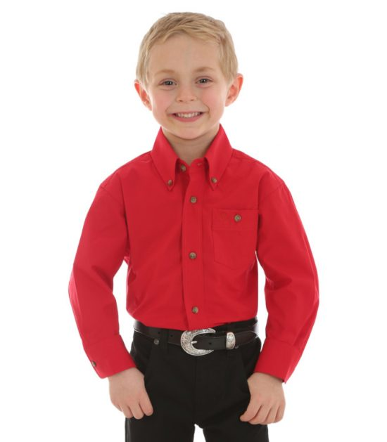 Wrangler Boys Kid's Western Shirt Stampede Shirt Red