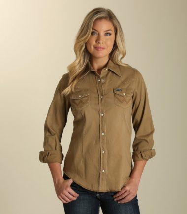 Wrangler Women's Tan Denim Jacket Stampede Top
