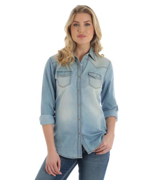 Wrangler Women's Light Denim Jacket Stampede Top
