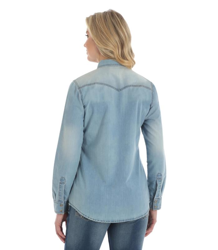 a97bfcead9 ... Premium Long Sleeve Denim Shirt. Wrangler Women s Light Denim Jacket  Stampede Top · Wrangler Women s Light Denim Jacket Stampede ...