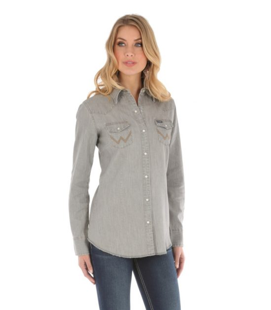 Wrangler Women's Grey Denim Jacket Stampede Top