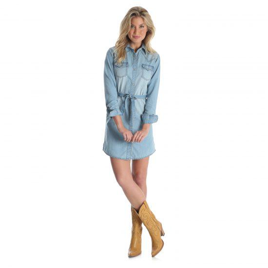 7c2bc60af8 Wrangler Women s Long Sleeve Denim Shirt Dress - McCormick Western