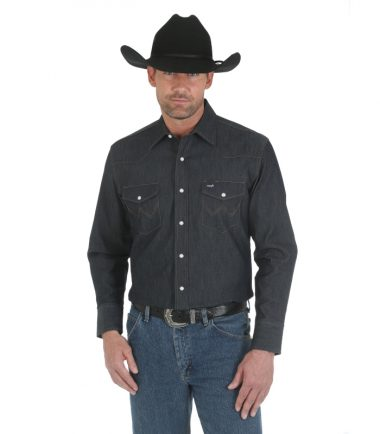 Wrangler Men's Long Sleeve Western Shirt Turqoise Blue