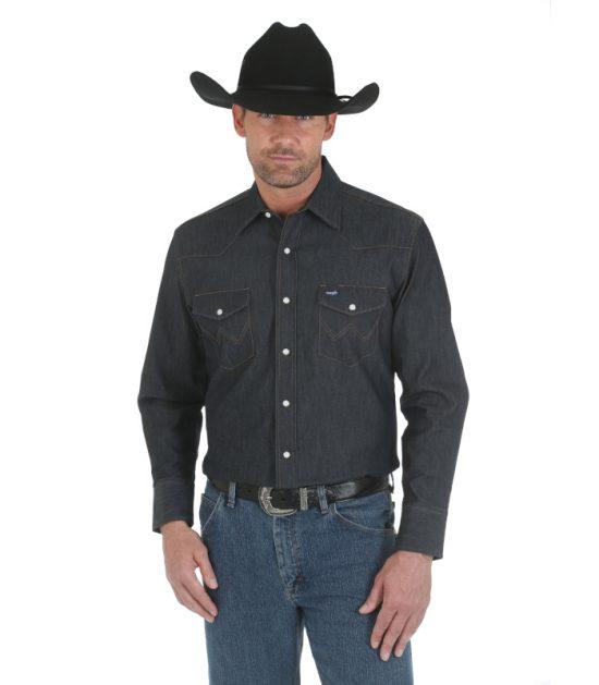 Wrangler Men's Long Sleeve Western Shirt Turqoise Blue