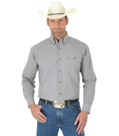Wrangler Men's Long Sleeve Western George Strait Grey