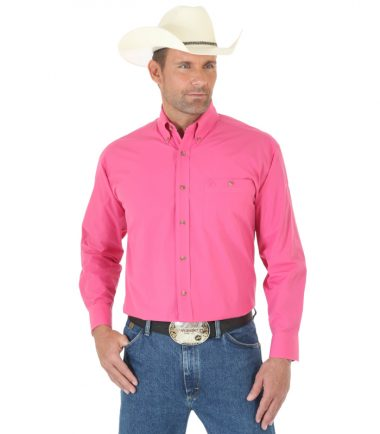 Wrangler Men's Long Sleeve Western George Strait Pink