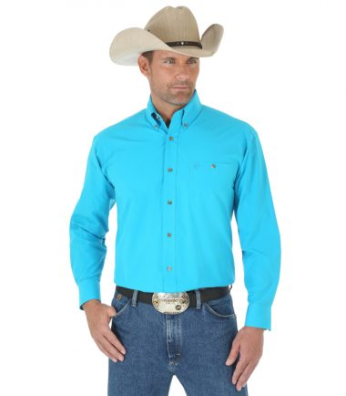 Wrangler Men's Long Sleeve Western George Strait Turquoise