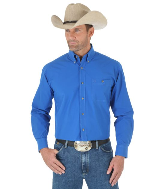 Wrangler Men's Long Sleeve Western George Strait Blue
