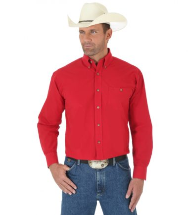 Wrangler Men's Long Sleeve Western George Strait Red