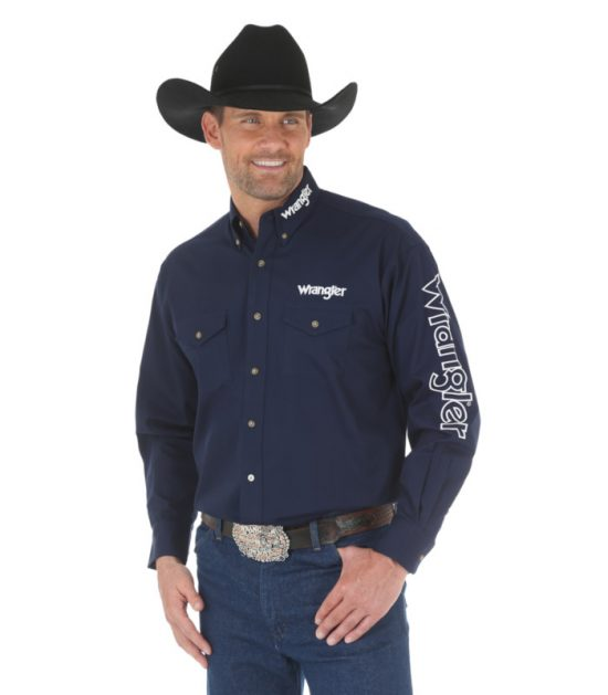 Wrangler Logo Men's Long Sleeve Stampede Shirt Navy