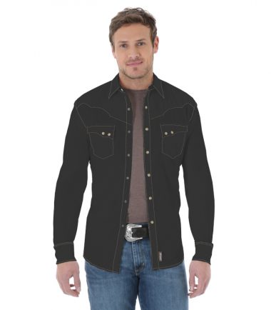 Wrangler Men's Long Sleeve Western Shirt Black