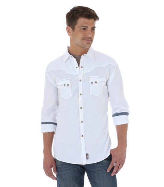 Wrangler Retro Long Sleeve Western Stampede Shirt White
