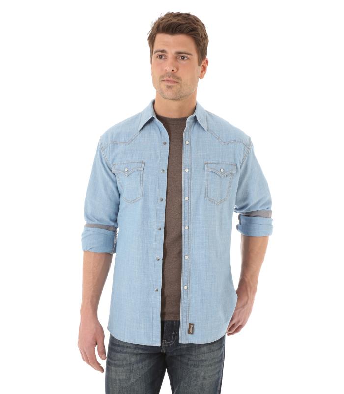 b29408f2271 Wrangler Retro® Long Sleeve Western Snap Solid Shirt - Riley & McCormick