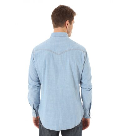 Wrangler Retro Long Sleeve Western Stampede Shirt Indigo Denim