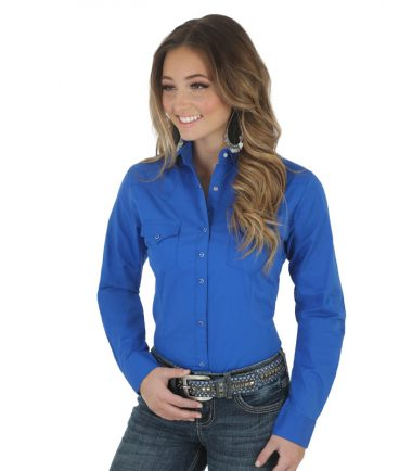 Wrangler Long Sleeve Western Shirt - Blue