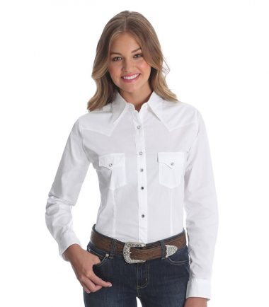 Wrangler Long Sleeve Western Shirt - White