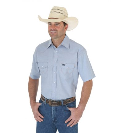 Wrangler Western Men's Cowboy Chambray Short Sleeve Shirt Stampede