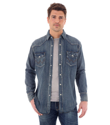 Wrangler Cowboy Denim Antique Washed Long Sleeve Shirt Stampede Western