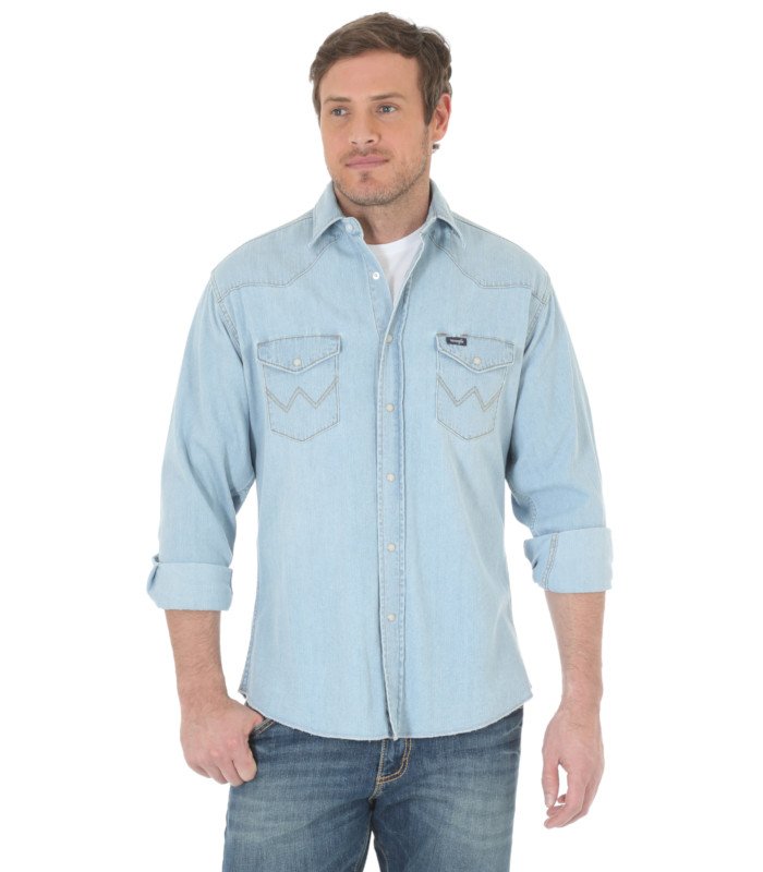 52adf66a2c ... Men s Authentic Cowboy Cut Denim Work Shirt. Wrangler Cowboy Denim Long  Sleeve Shirt Stampede Western ...