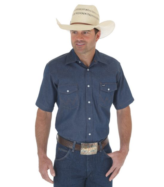 Wrangler Western Men's Cowboy Denim Short Sleeve Shirt Stampede