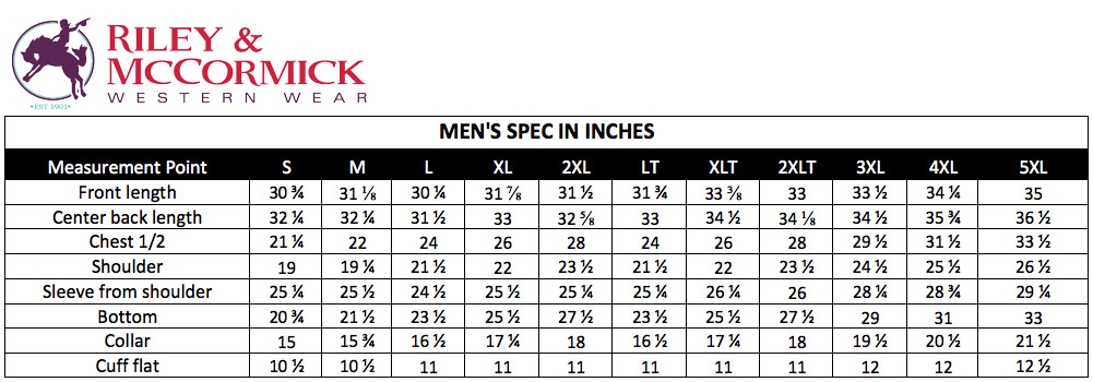 Riley & McCormick Men's Sizing Help