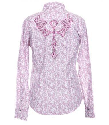 Western Pink Printed Ladies Long Sleeve Shirt Stampede