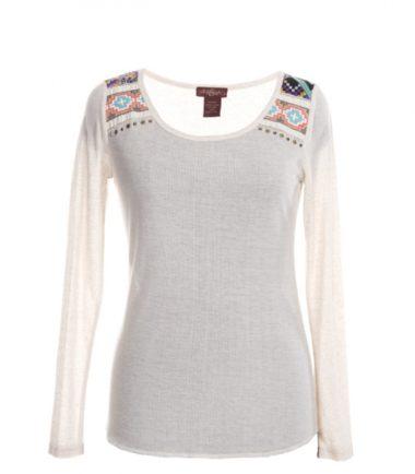 Western Stampede Cream Pattern Ladies Top Shirt