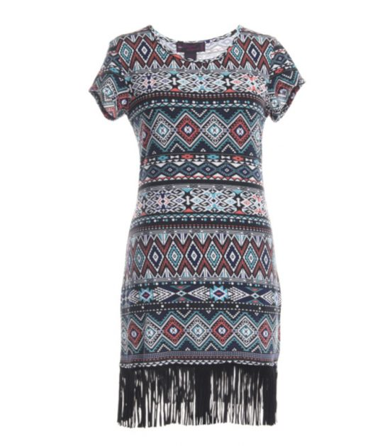Western Stampede Ladies Pattern Gray Print Dress