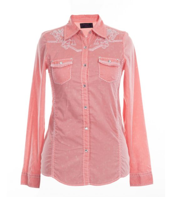 Western Stampede Pink Ladies Long Sleeve Shirt
