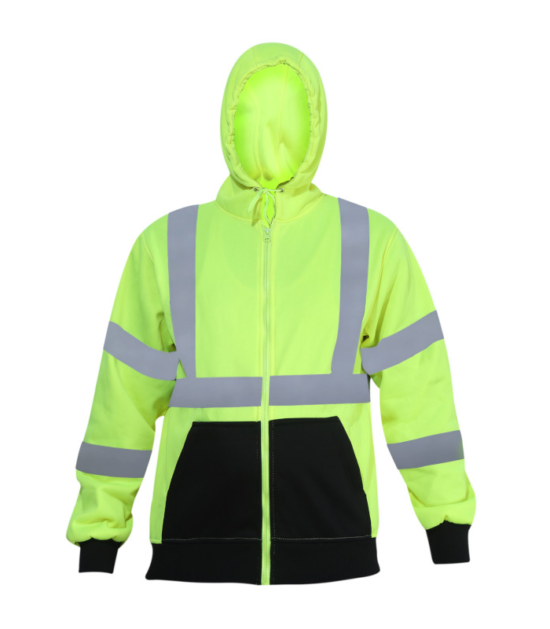 Forge Hi Vis Hooded Sweatshirt Work Wear Western PPE Yellow Reflective Safety