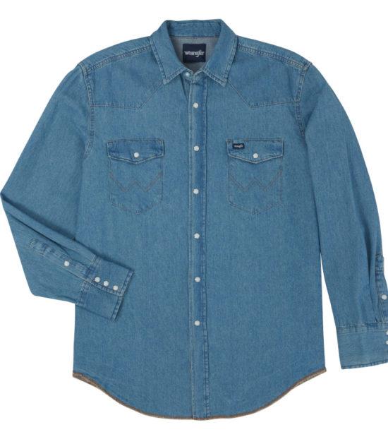 Wrangler Cowboy Denim Stone Washed Long Sleeve Shirt Stampede Western