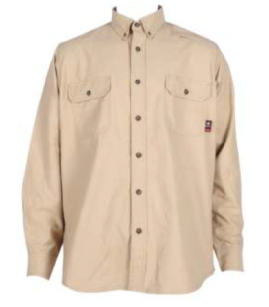 Forge Men's Fire Retardant Khaki Long Sleeve Shirt Work Western Wear