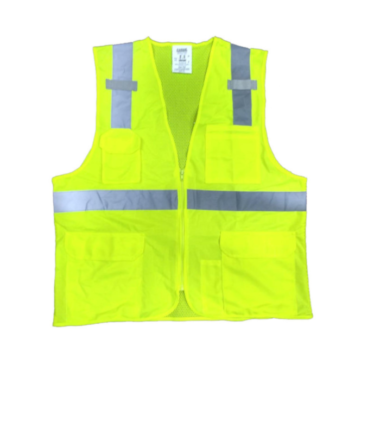 Forge Hi Vis Vest Pocket Zipper Work Wear Western PPE Yellow Reflective Safety