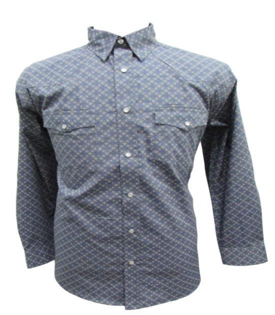 Riley & McCormick Blue Cream Printed Stampede Western Long Sleeve Shirt Men's Women's Corporate