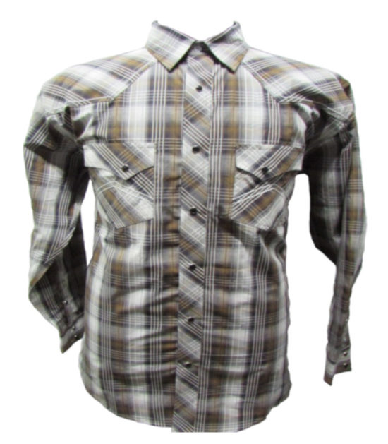 Riley & McCormick Brown Plaid Stampede Western Long Sleeve Shirt Men's Women's Corporate