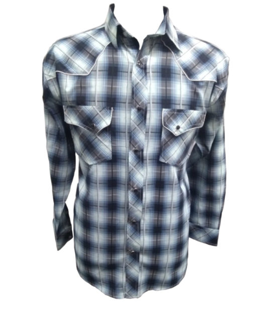 Riley & McCormick Blue Plaid Stampede Western Long Sleeve Shirt Men's Women's Corporate