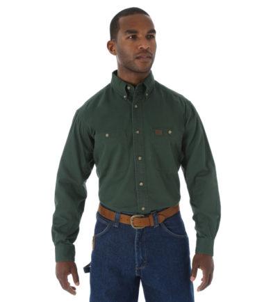 Wrangler Riggs Workwear Twill Work Shirt Forest Green