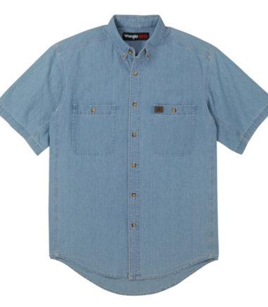 Wrangler Riggs Workwear Chambray Work Shirt Light Blue