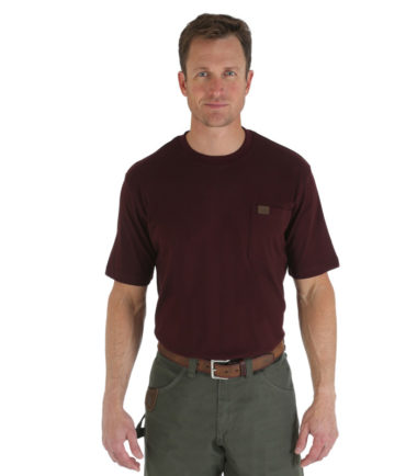 Wrangler Riggs Workwear Short Sleeve Pocket T Shirt Burgundy